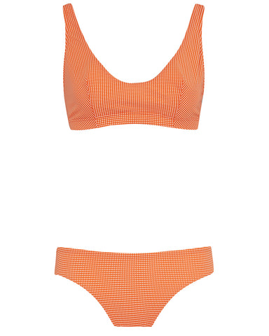 The Plunge Crop Set - Mandarin Check