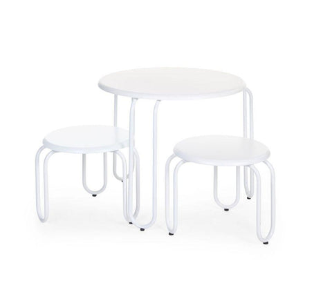 Childhome Ironwood round table + 2 chairs white