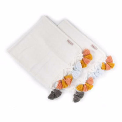 Childhome - TETRA TOWEL SET OF 4 WHITE + TASSEL