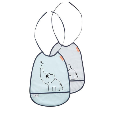 Done by Deer - Bib 2-pack Elphee Grey and blue