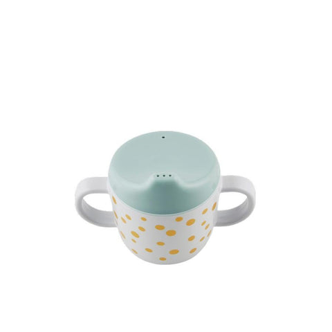Done by Deer - Spout cup Happy dots gold/blue