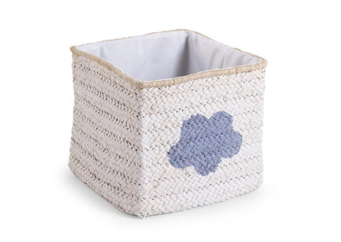 Childhome BOX STRAW WOVEN WHITE STAR & CLOUD