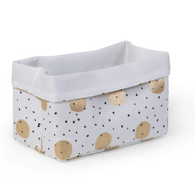 Childhome - CANVAS BOX 32x20x20 WHITE GOLD DOTS