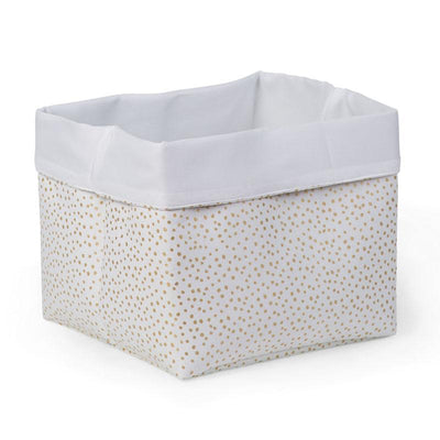 Childhome - CANVAS BOX 32x32x29 WHITE SMALL GOLD DOTS