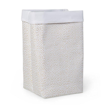 Childhome - CANVAS BOX 32x32x60 WHITE SMALL GOLD DOTS