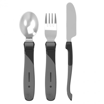 Twistshake - Cutlery Learning Set Stainless Steel Black