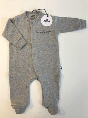 Long Sleeve Onesie No Ugly Crying Grey