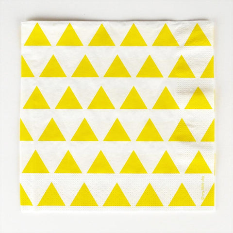 20 Napkins Yellow Triangles