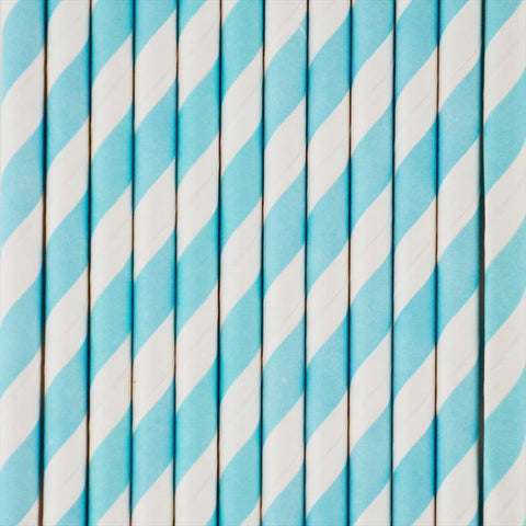 25 Straws Blue Stripes