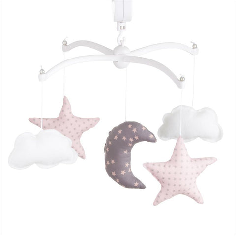 Pouce et Lina - Musical Mobile Moon and Stars Grey and Pastel Pink