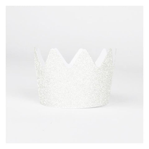 8 White Glitter Crowns