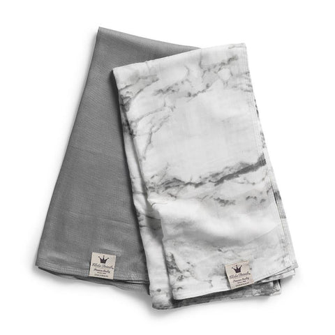 Elodie Details - Bamboo Muslin Blanket Set of 2 Large Marble Grey