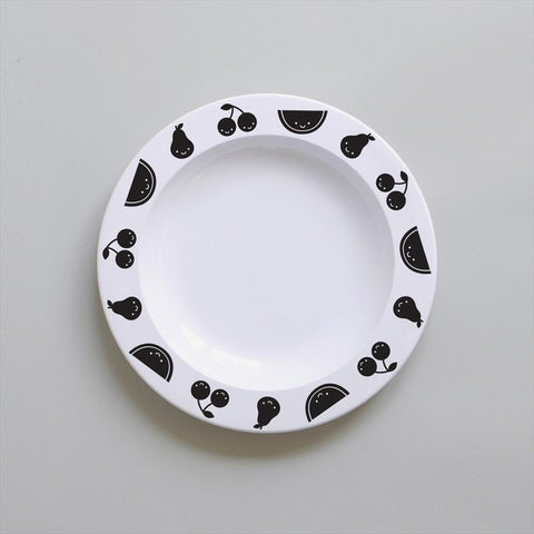 Buddy and Bear - Plate Fruit Friends Black