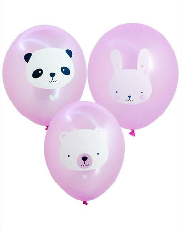 Set of 6 balloons Animals Pink