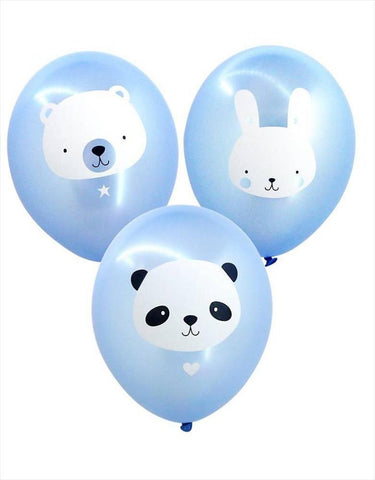 Set of 6 balloons Animals Blue