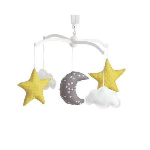 Pouce et Lina musical mobile - moon and stars Grey and Yellow