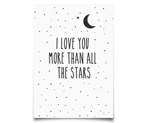 Postcard Eef Lillemor I love you more than all the stars