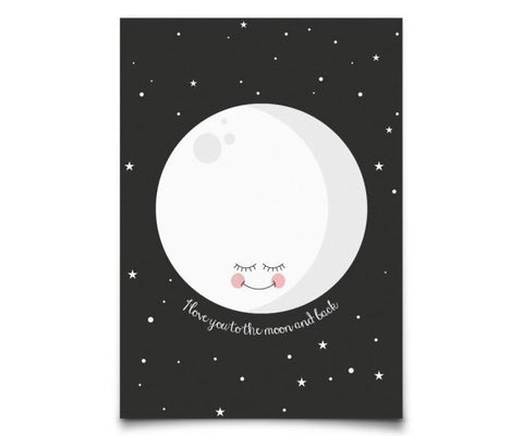 Postcard Eef Lillemor Moon Black