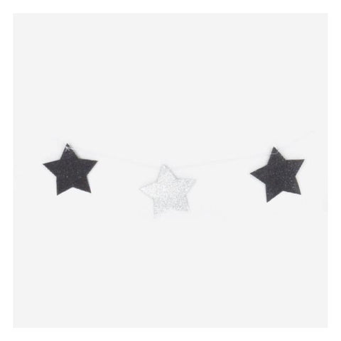 Glitter Garland Stars Black and Silver