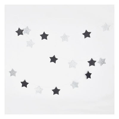 My Little Day - Glitter Garland Stars Black and Silver