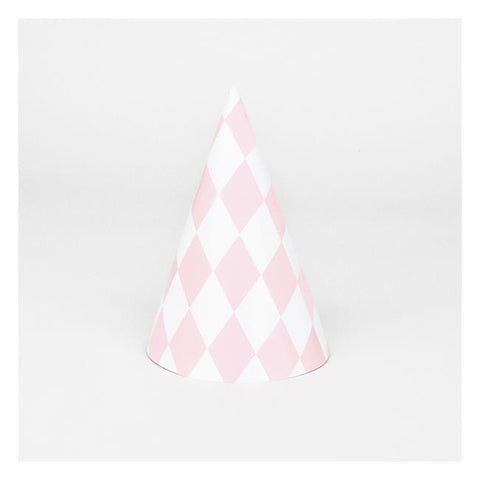 8 Party Hats Pink Diamonds