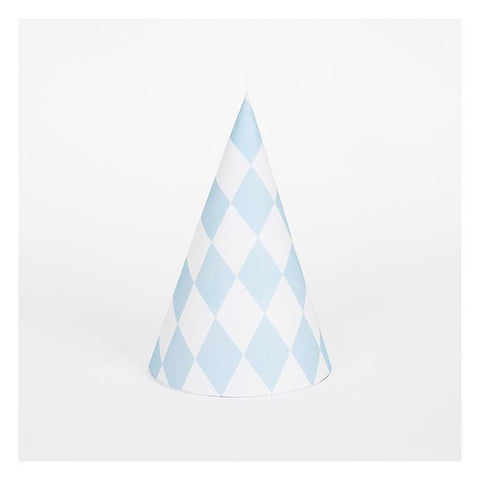 8 Party Hats Blue Diamonds
