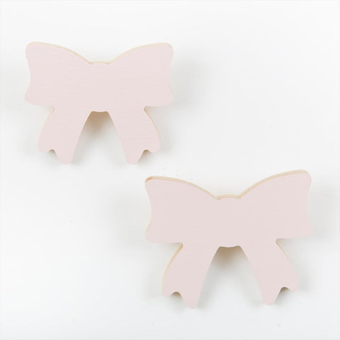 Set of 2 Wall Hooks That's Mine Bow Soft Pink