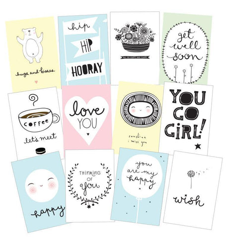 12 postcards Sentiments