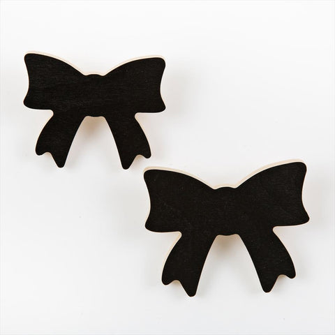 Set of 2 Wall Hooks That's Mine Bow Black