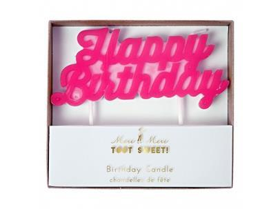 Meri Meri - Pink Happy Birthday Candle