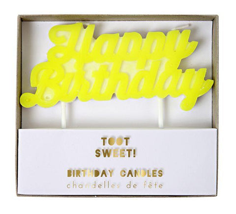 Meri Meri - Yellow Happy Birthday Candle
