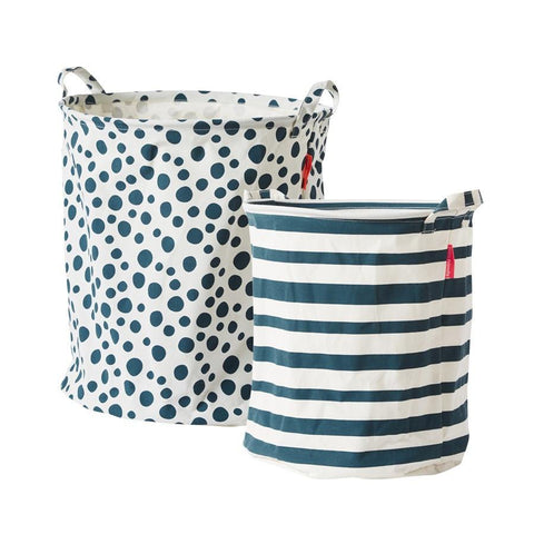 Done by Deer - Soft storage basket 2 pcs blue
