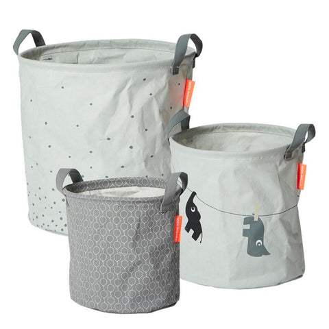 Done by Deer - Soft storage baskets 3 pcs. grey