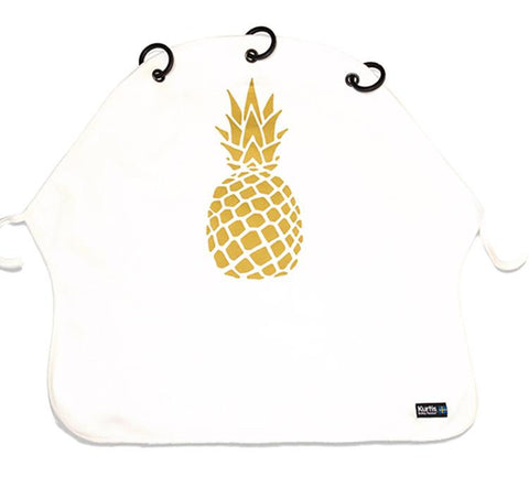 Kurtis - Pram Curtain Pineapple Gold & White