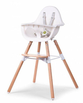Childhome - EVOLU 2 CHAIR NATURAL/WHITE 2 in 1 + BUMPER