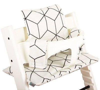 Ukje - cushion set triptrap white and black blocks