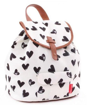 Kidzroom - Black & White hearts Black backpack Trendy