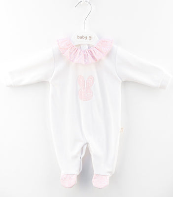 Baby Gi - Cotton Babygrow Big Bunny Pink