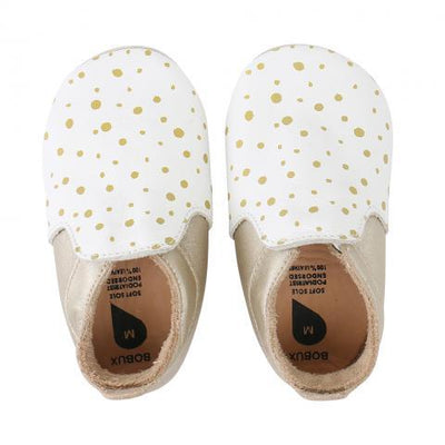 Bobux - Soft Soles white/gold spots/gold trims loafer