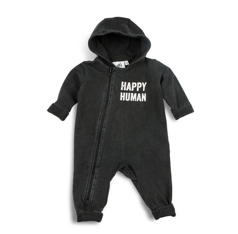 Cos I Said So - Hooded Playsuit Washed Black Happy Human