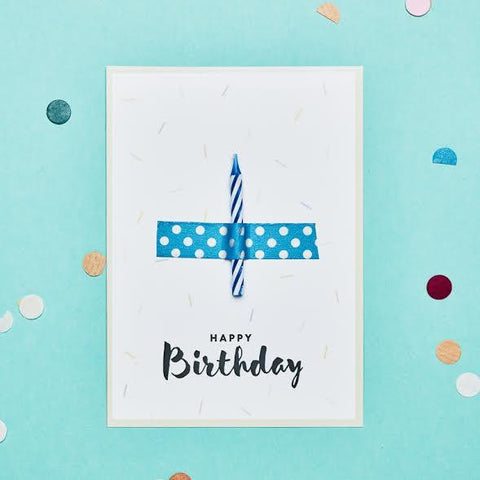 Wishcard Happy Birthday Candle Blue