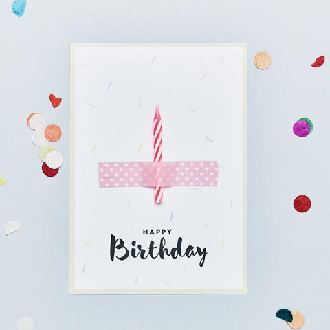 Wishcard Happy Birthday Candle Pink