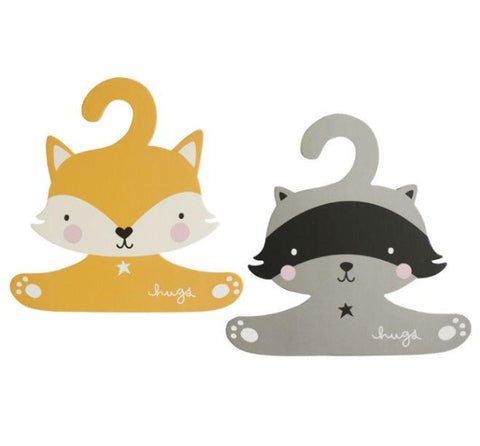 Coat Hanger Set: Raccoon & Fox