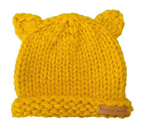 Little Millie - Knitted Bear Hat Mustard