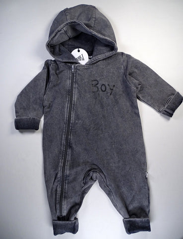 Cos I Said So - Hooded Playsuit Washed Grey Boy