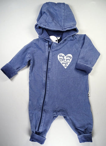 Cos I Said So - Hooded Playsuit Washed Blue My Heart