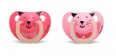 Suavinex - Pacifier Night & Day Anatomical 6-18 Months Cat Pink 2Pack