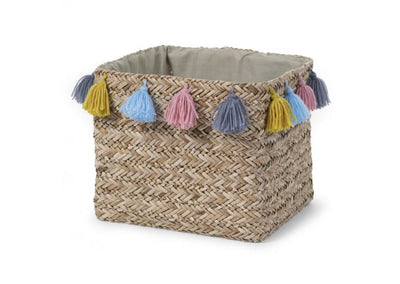 Childhome - BOX STRAW WOVEN SQUARE BASKET + TASSEL