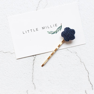 Little Millie - Hairpins Minimal Flower Blue Set Of 2