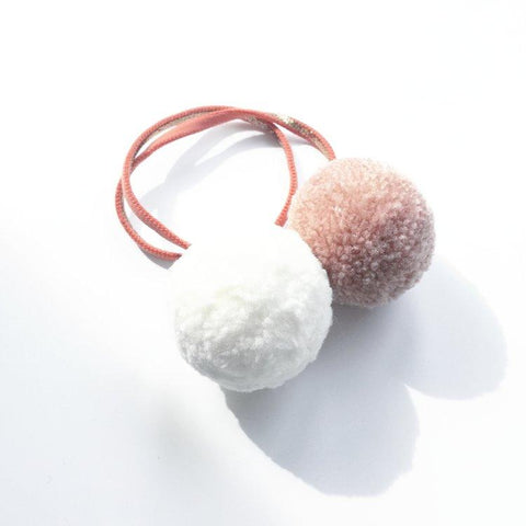 Little Millie - Blush & Off White  Pom Pom/Rust & Gold Headband